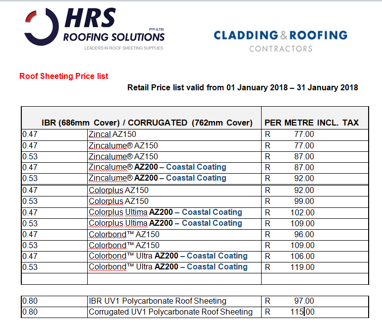 January 2018 ibr and corrugated roof sheeting Pricelist cape town, hermanus, paarl, caledon