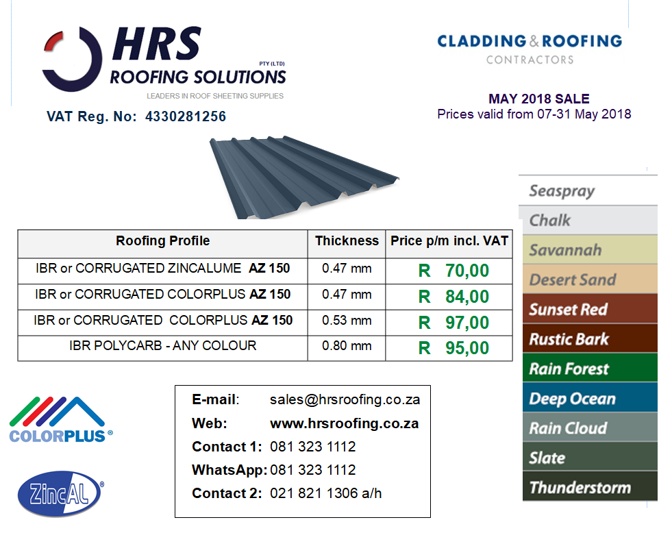 May roof sheeting Pricing 2018, IBR and Corrugated Colorbond and ZINCALUME roof sheeting cape town, roof sheets caledon and hermanus