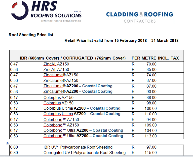 Roof Sheeting Pricelist Cape Town, IBR and Corrugated roof sheets, roofing contractor