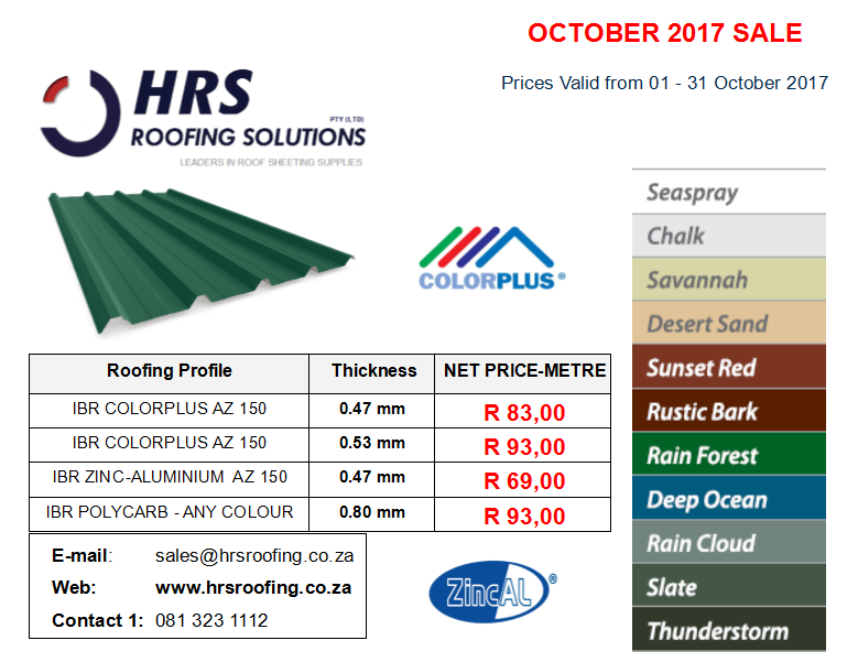 Roof Sheeting Prices October 2017 IBR Corrugated Roof Sheet prices cape town hermanus caledon Table View ZINCALUME COLORBOND roof sheets - Roof Sheeting Prices October 2017, IBR & Corrugated Roof Sheet prices cape town, hermanus, caledon & Table View ZINCALUME & COLORBOND roof sheets