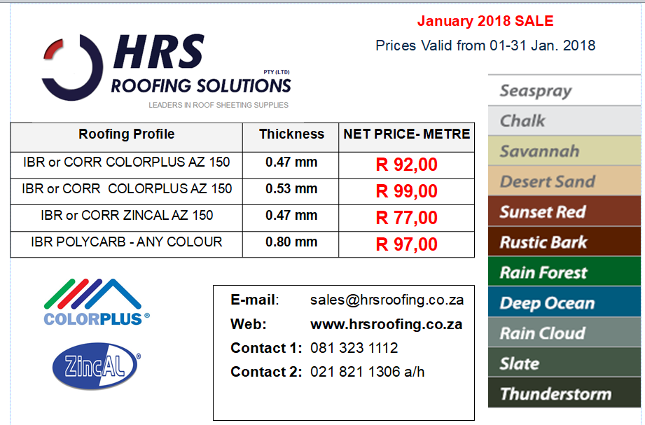 Roof sheeting prices january 2018, ibr and corrugated zincalume, polycarb andf colorbond roof sheets, cape town, bloubergstrand, table view and caledon, hermanus