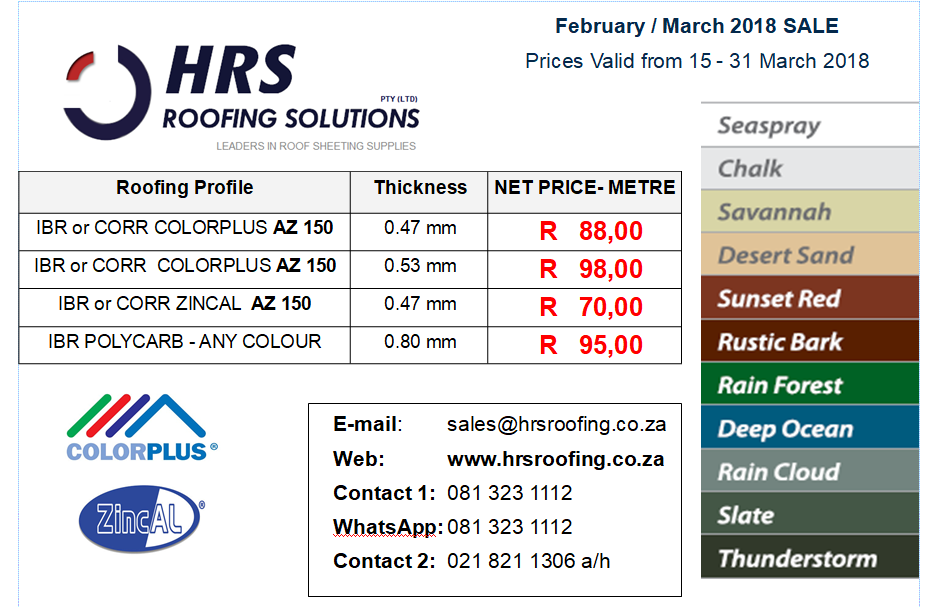 ZINCALUME & COLORBOND IBR and Corrugated Roof Sheeting Prices Cape Town, Paarl, Velddrif, bellville