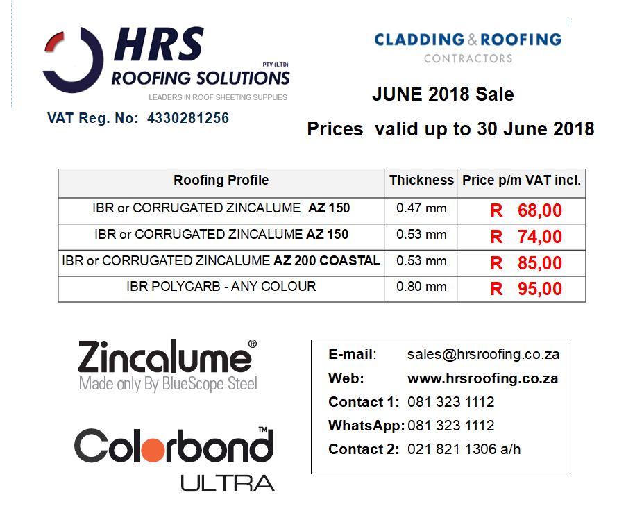 ZINCALUME June roof sheeting Pricing 2018, IBR and Corrugated Colorbond and ZINCALUME roof sheeting cape town, roof sheets caledon and hermanus