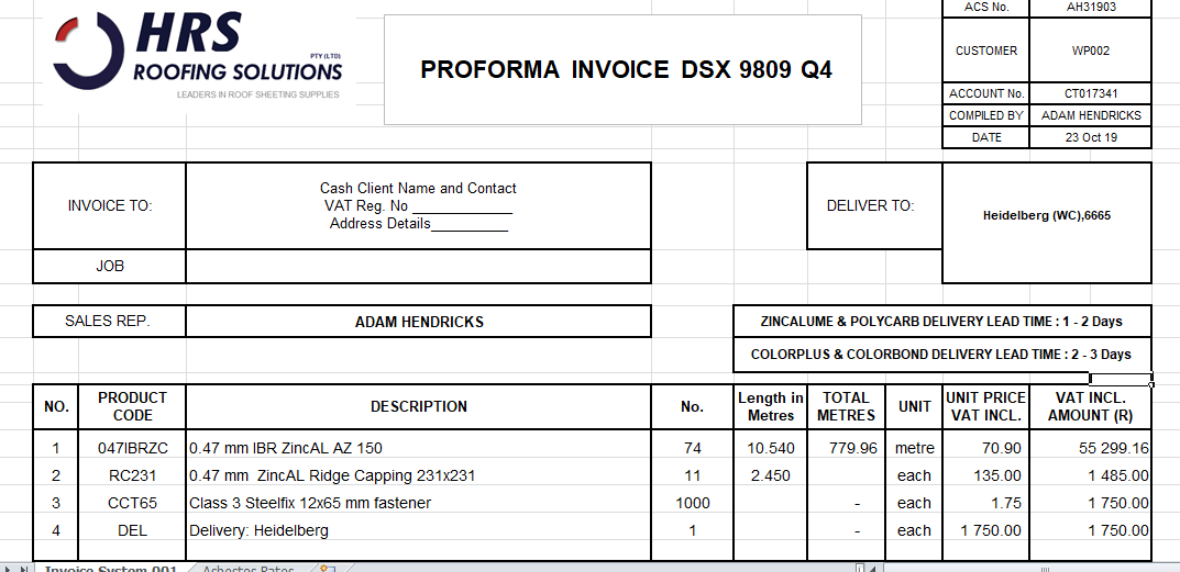 HRS roof sheeting order invoice