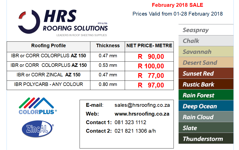 Roof Sheeting Price List