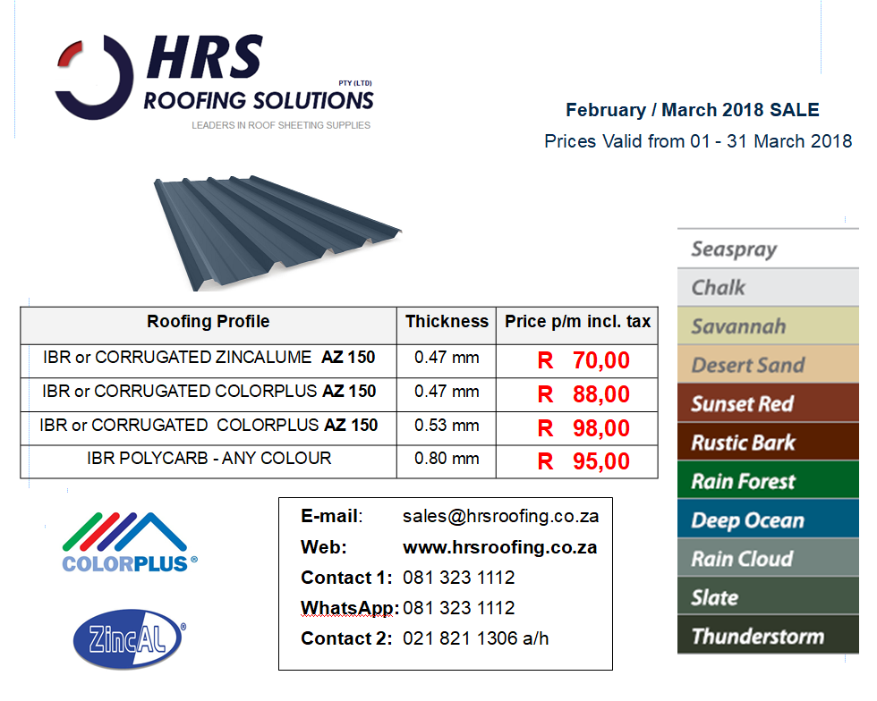 March Pricing 2018, IBR and Corrugated Colorbond and ZINCALUME roof sheeting cape town