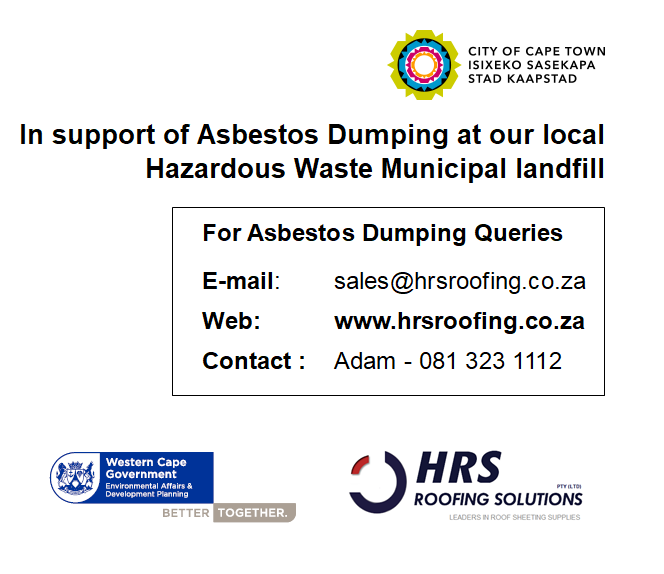 Asbestos Dumping Cape Town, Asbestos Roof removal cape town, hrs roofing, hrs roofing contractor and IBR and Corrugated roof sheeting table view