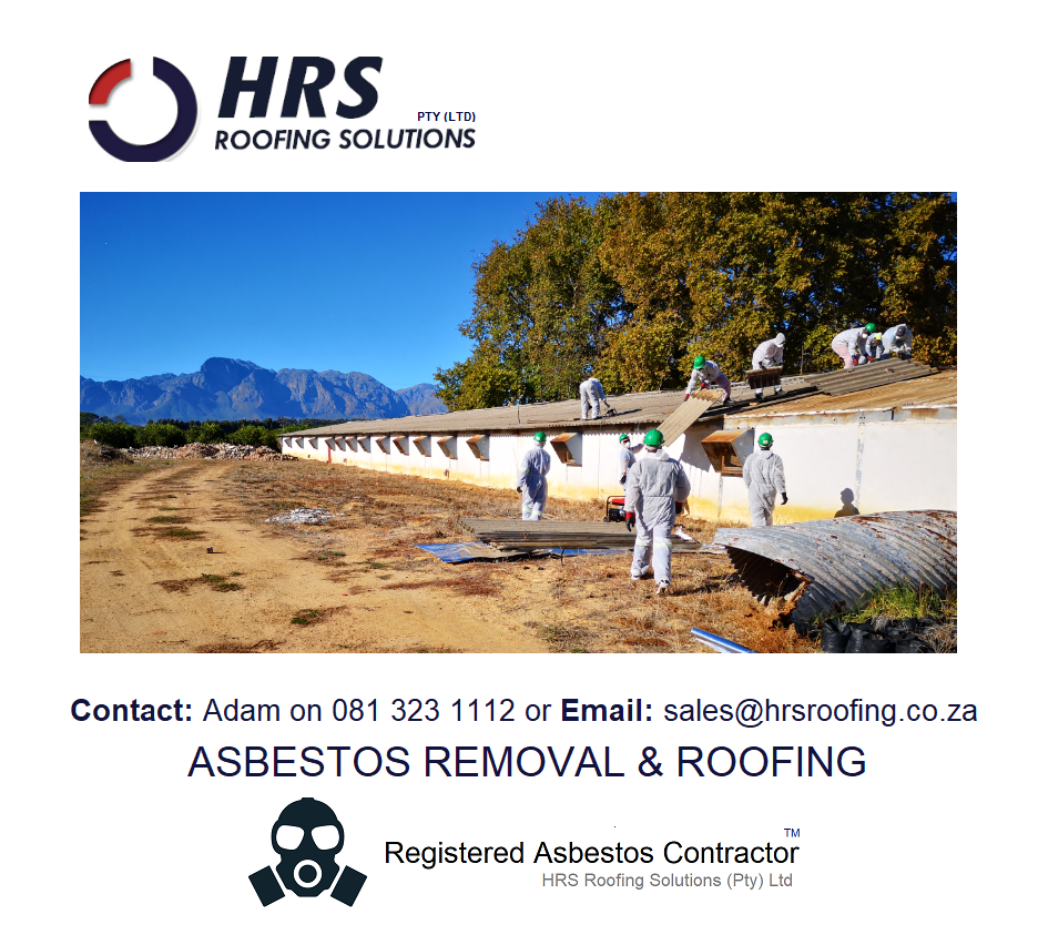Asbestos removal cape town, asbestos roof removal cape town, asbestos removal paarl, asbestos removal fish hoek, IBR reroofing cape town, IBR and corrugated rof sheets zincalume and colorbon119