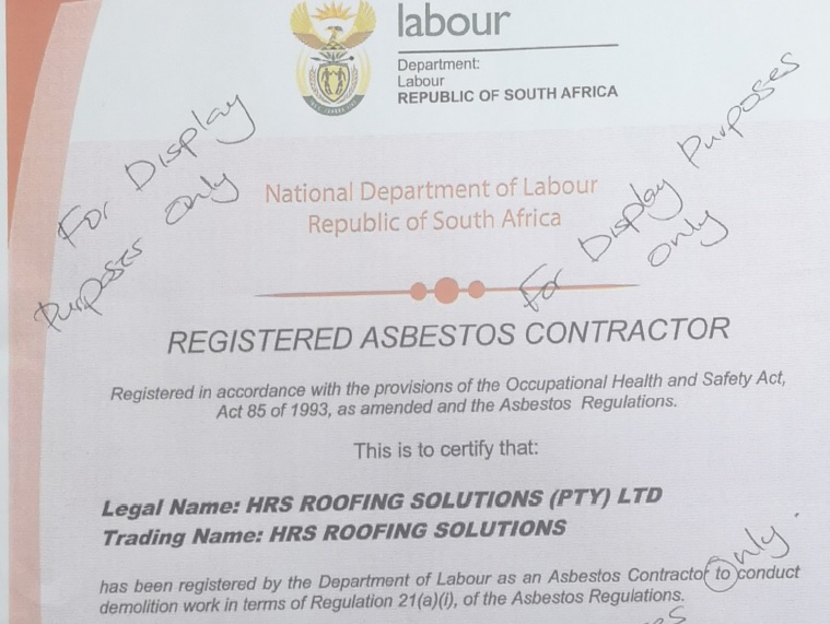 Registered Asbestos COntract