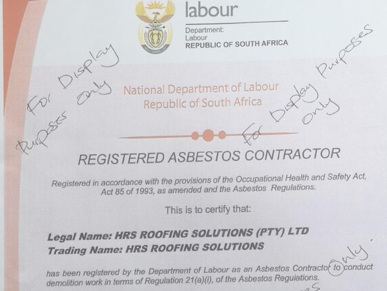 Registered Asbestos COntract