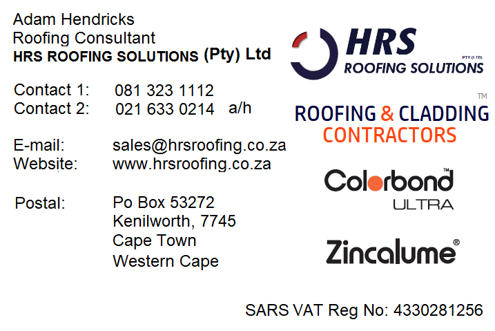 HRS Roofing Solutions, Diamondek 407 clip lock roof sheeting, IBR and Corrrugated COLORBPONd roof sheeting somerset west and caledon, cape town