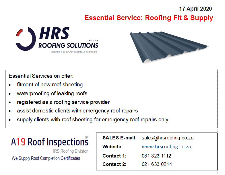 HRS Roofing Essential Service