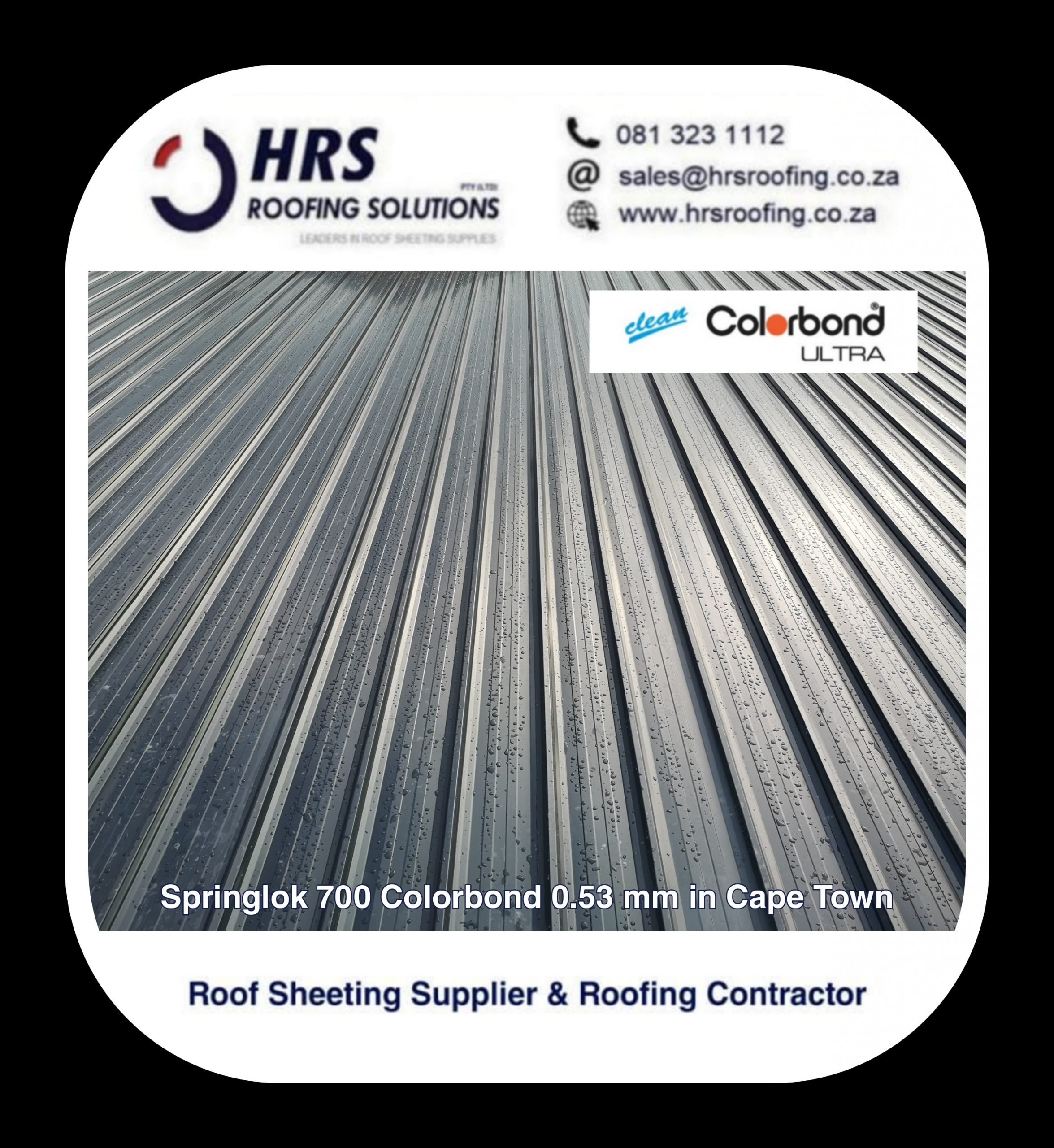 Springlok 700 clip lock colorbond roof sheeting cape town hrs roofing solutions ib