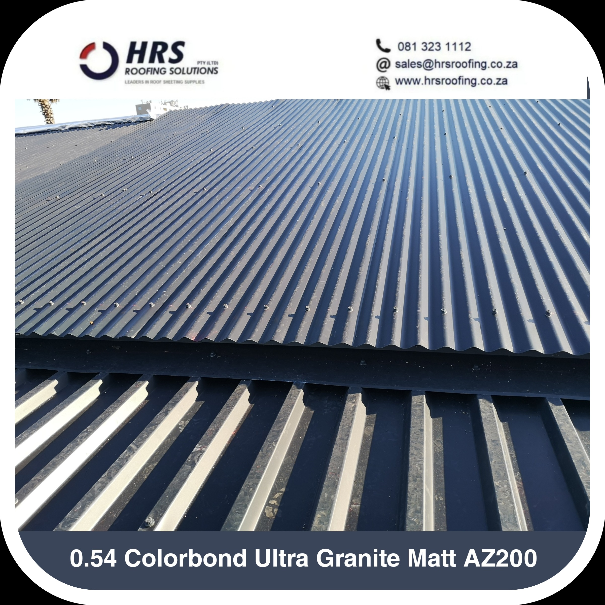 hrs roofing Colorbond matt granite matt roof sheeting supplier laaiplek