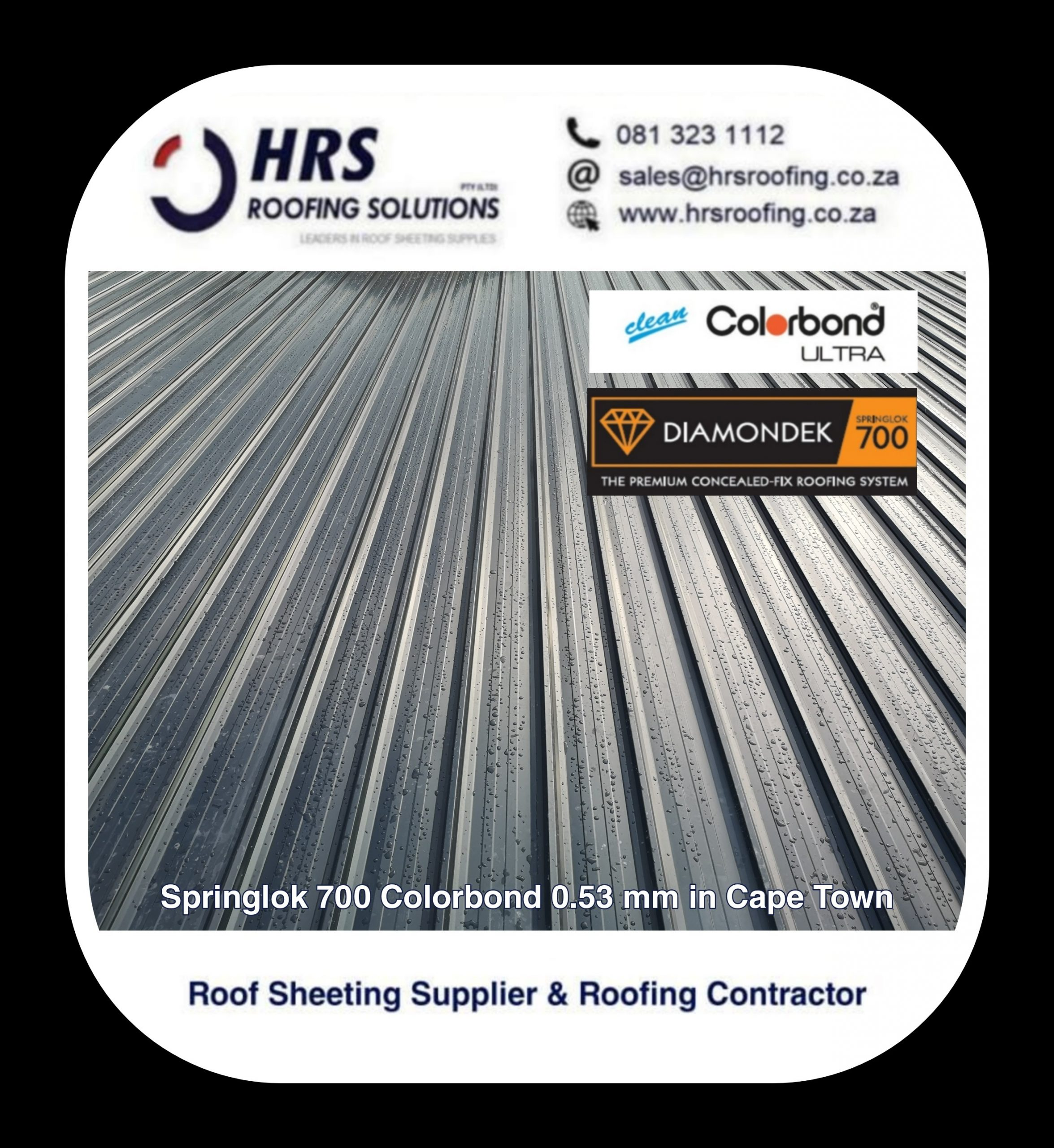 Springlok 700 Colorbond roof sheet cape town Constantia table view hrs roofing scaled - Roofing Gallery