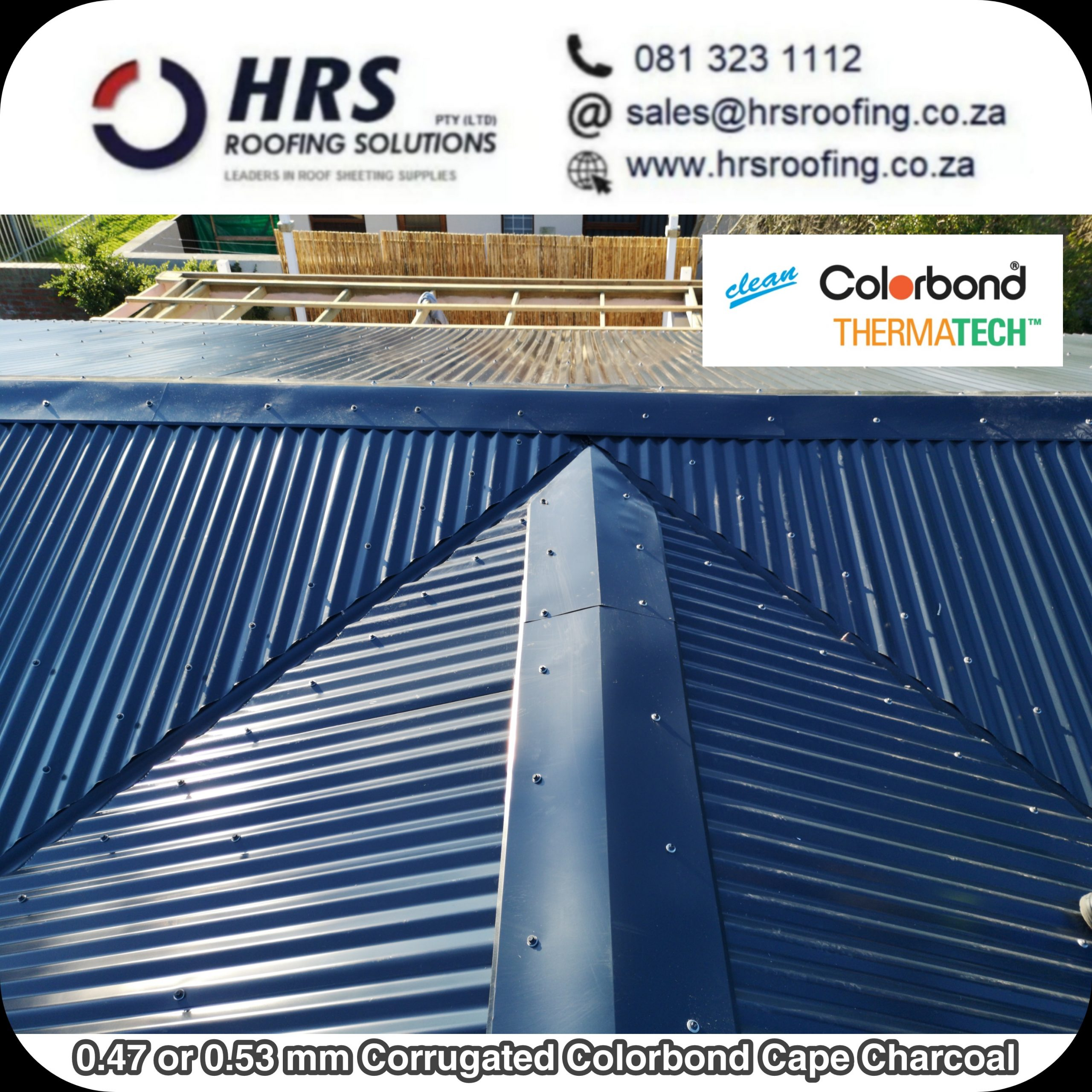 ibr corrugated colorbond Charcoal roof sheets paardein eiland paarl table view scaled - Roofing Gallery