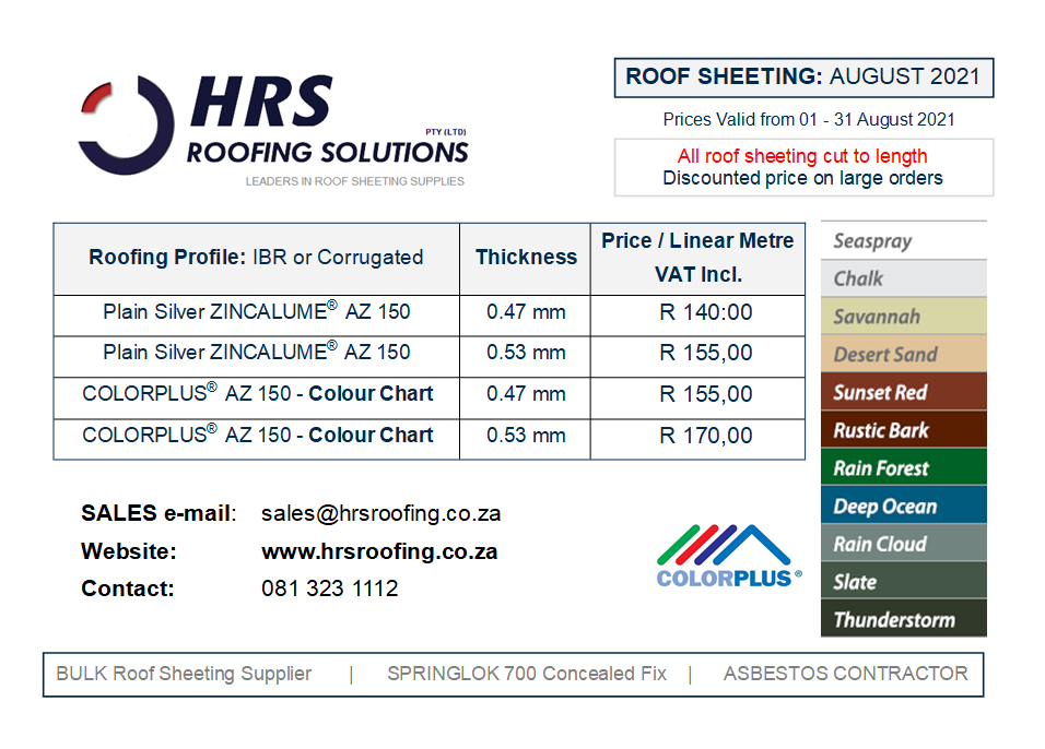 Roof Sheeting Price List HRS Roofing Solutions Roof Sheeting Supplier and roofing contractor IBR or Corrugated Springlok 700 colorbond roof sheeting