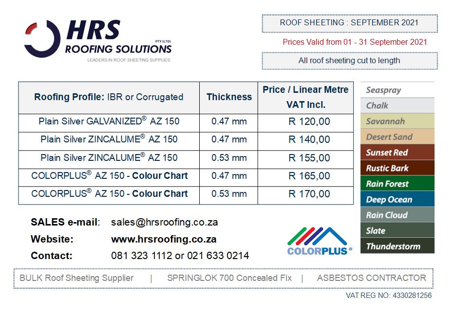 HRS Roofing Solutions Roof Sheeting IBR or Corrugated Roof Sheeting Cape Town Paarl Table View - Roof Sheeting Price List